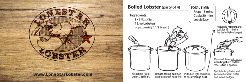 LONESTAR LOBSTER instruction card design by Media A-Team of Houston, TX